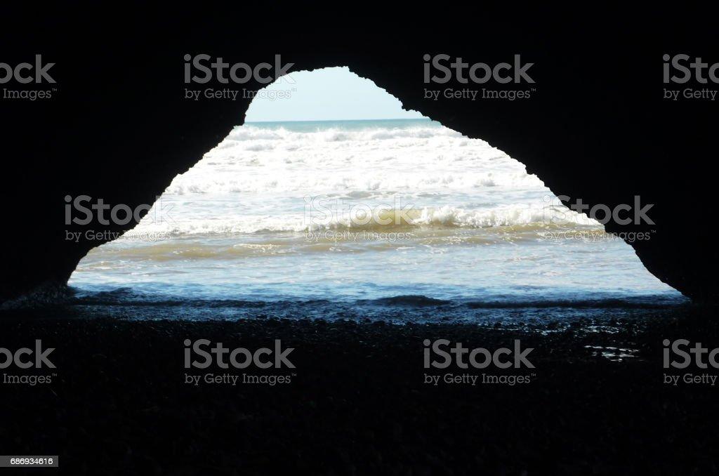 A cave at Atlantic ocean, Legzira Beach stock photo