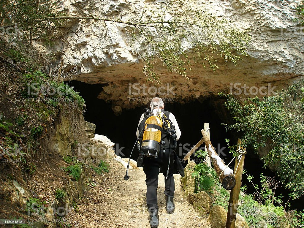 Cave diving royalty-free stock photo