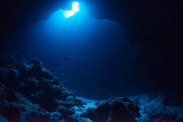 Cave Diving Sunbeam into the dark cave. deep stock pictures, royalty-free photos & images