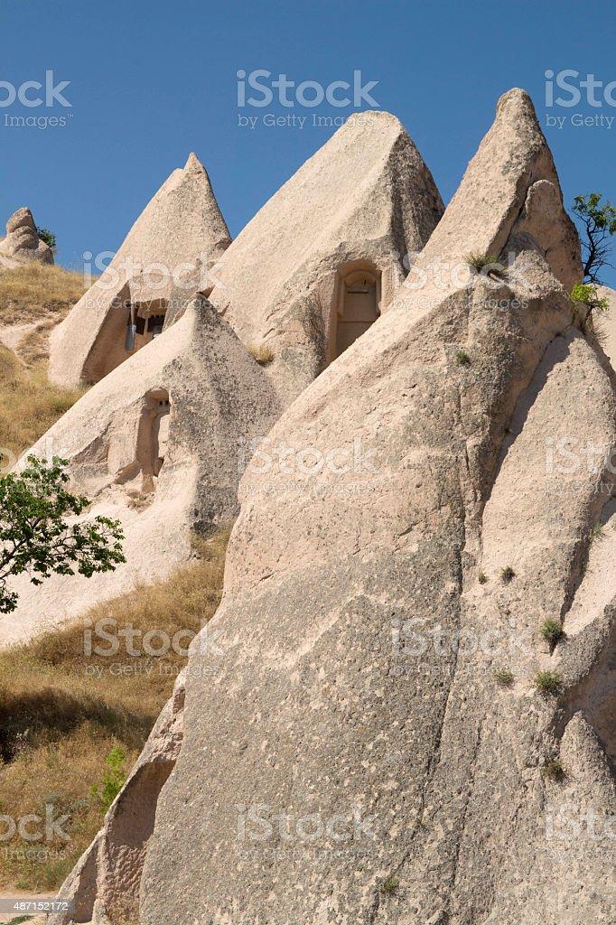 Cave dwellings in Cappadocia stock photo