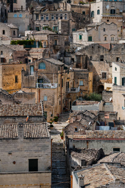 Cave dwellings Sassi di Matera in Sasso Barisano, Unesco World Heritage Site, Matera, Italy stock photo