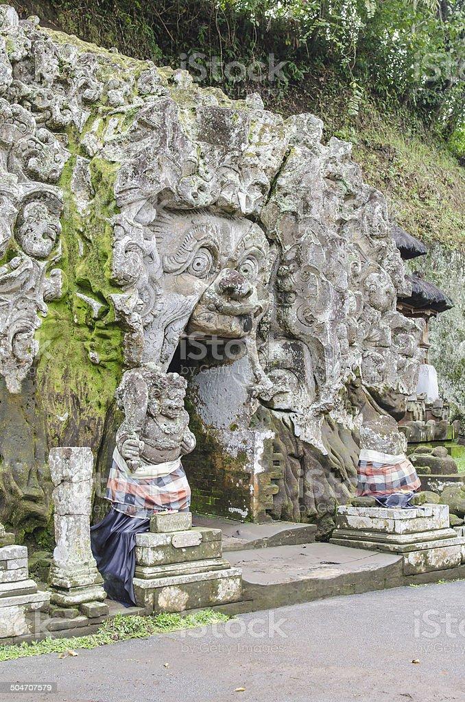 Cave entrance at Goa Gajah temple in Bali stock photo