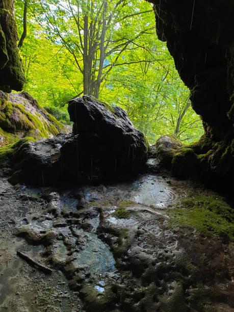 Cave entrance at Travertine waterfalls, Apuseni stock photo
