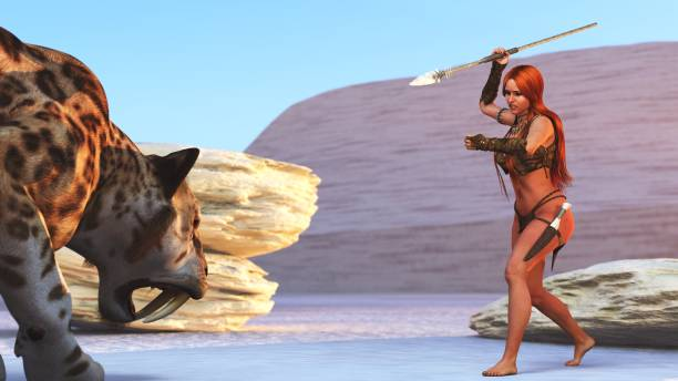 3D cave girl and crouching sabre tooth stock photo