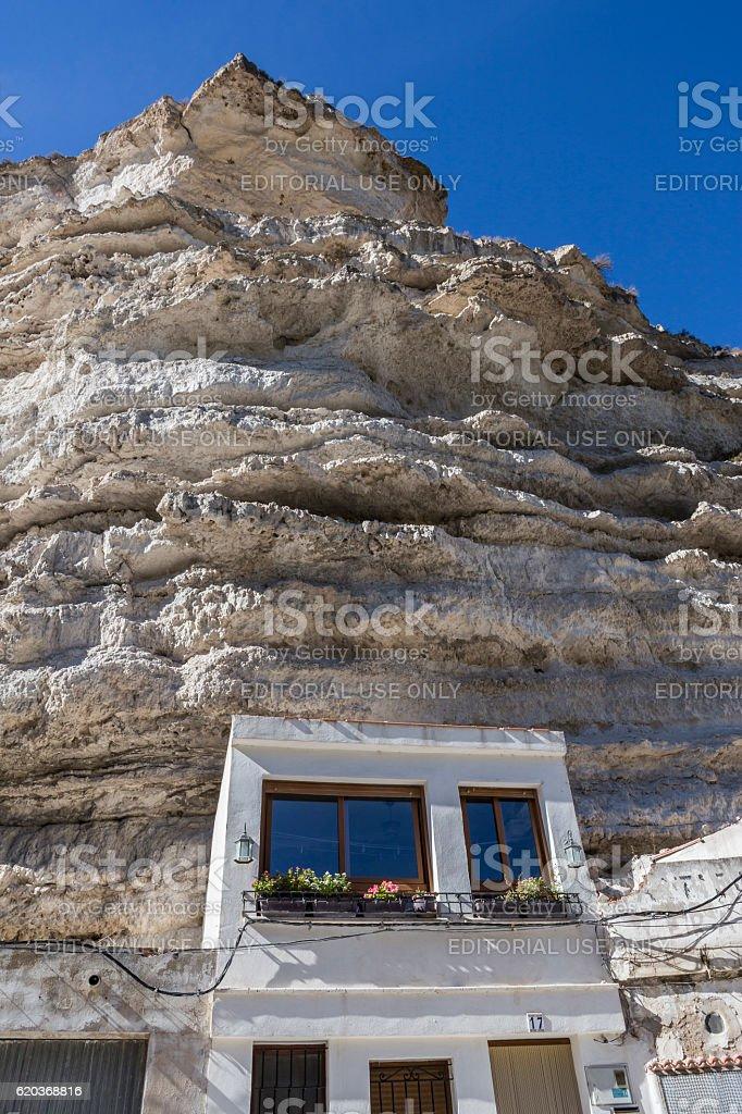Cave House in the mountains of limestone, Spain zbiór zdjęć royalty-free