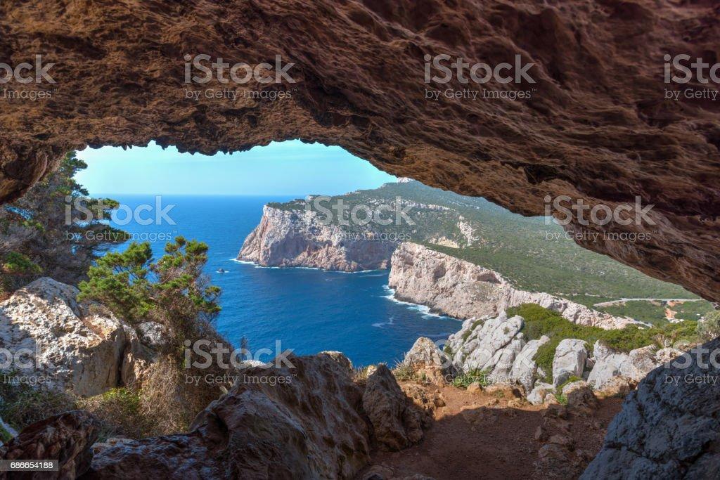 Cave in Capo Caccia royalty-free stock photo