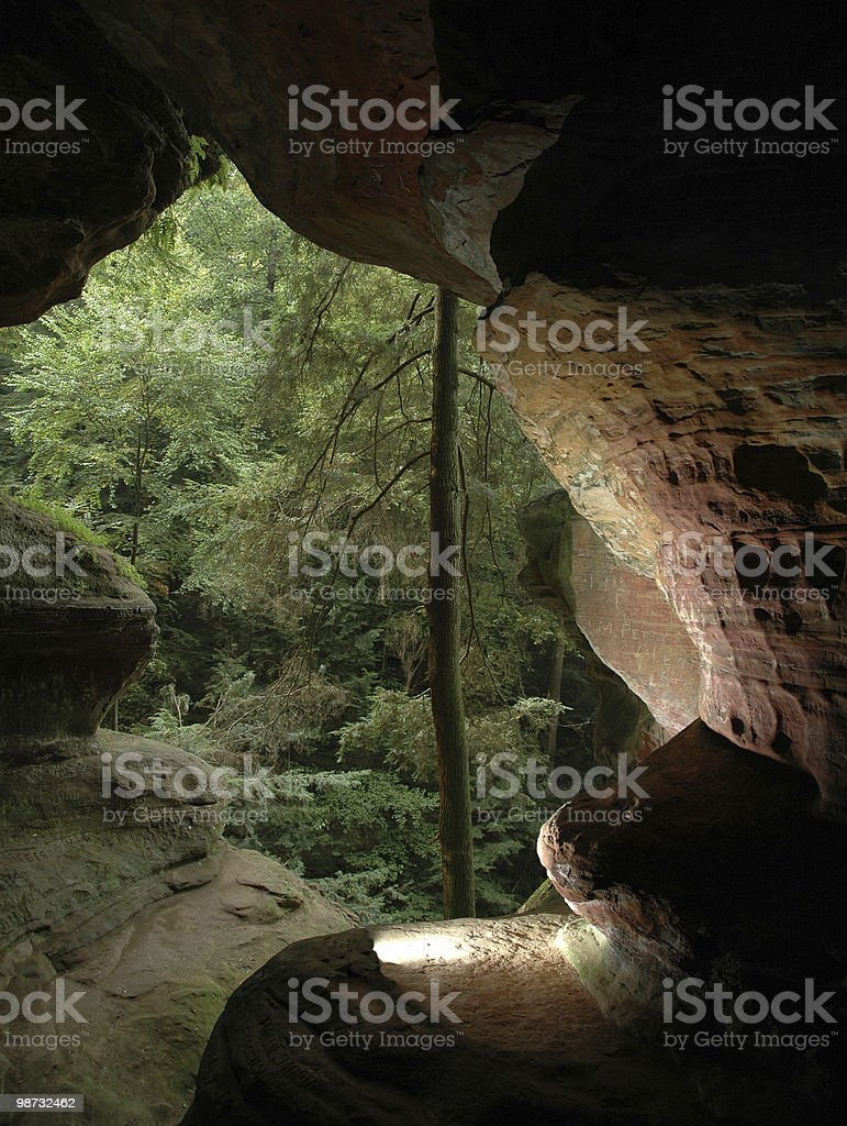 cave in hocking hills state park stock photo