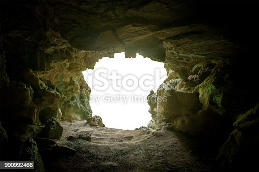 cave mouth stone isolate on white background