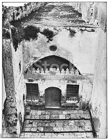 The Cave of the Patriarchs or Ibrahimi Mosque in Hebron, Israel. Vintage halftone etching circa late 19th century. Hebron is located in modern day Palestine, West Bank.