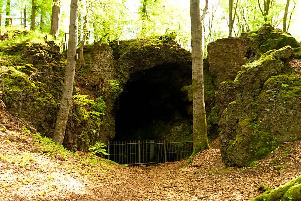 cave on the hiking trail eifelsteig - eremitage stock-fotos und bilder