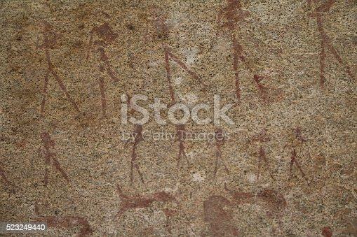 istock Cave painting in Phillips Cave in Erongo Mountains, Namibia Africa 523249440