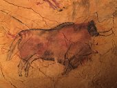 Cave painting mural in northern Spain