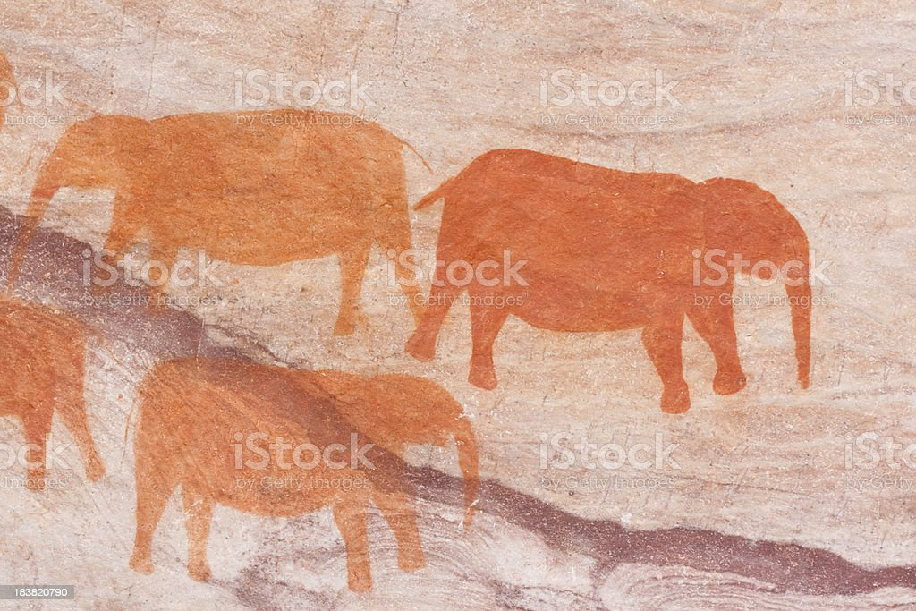 Cave painting of elephants royalty-free stock photo