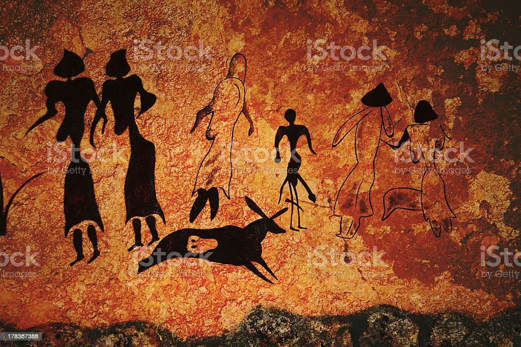 Cave painting of primitive commune stock photo