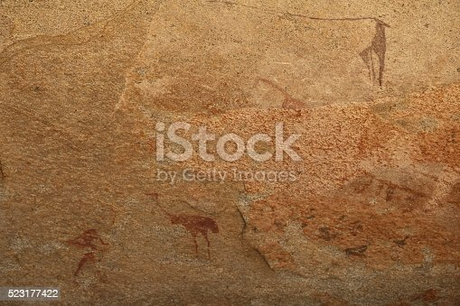 istock Cave Painting Ostrich in Phillips Cave, Namibia Erongo Mountains Africa 523177422