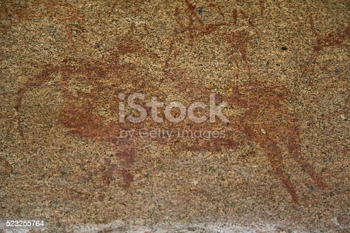 istock Cave painting Taurus in Phillips Cave, Erongo Mountains Namibia Africa 523255764