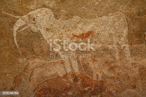 istock Cave painting White Elephant in Phillips Cave, Namibia Africa 523246754