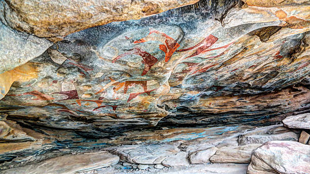 cave paintings and petroglyphs laas geel near hargeisa somalia - somalia stock photos and pictures