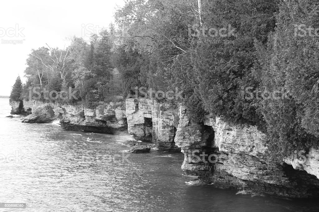 Cave Point B&W royalty-free stock photo