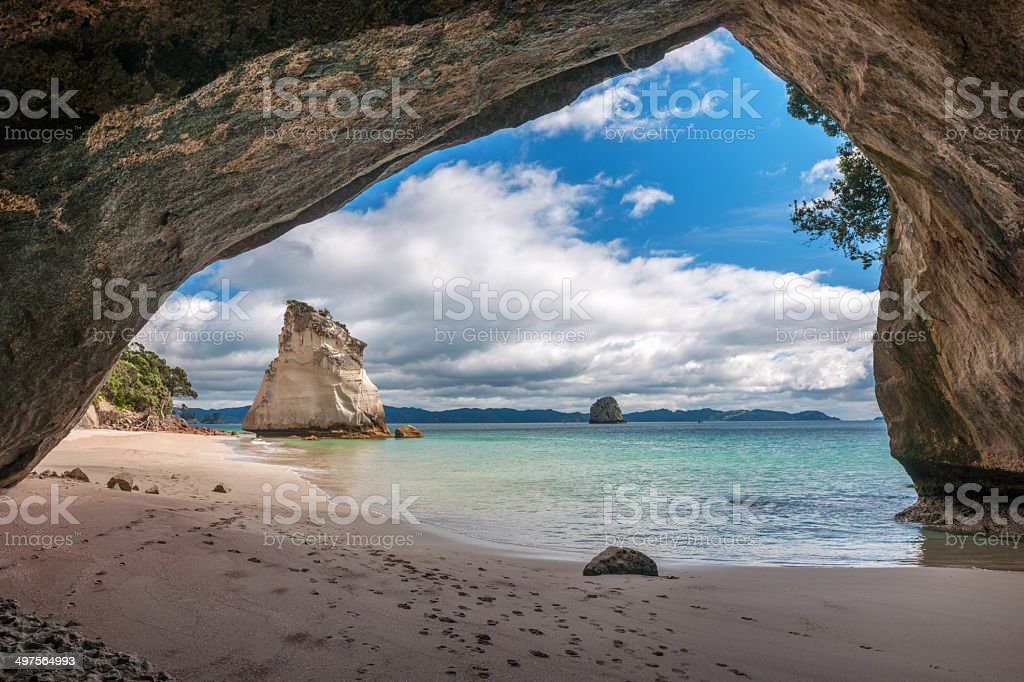 Cave, Rock Hole, Bay of Islands, North Island New Zealand stock photo