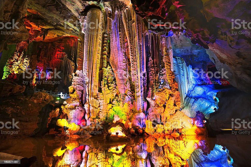 Cave stalactites reflection royalty-free stock photo
