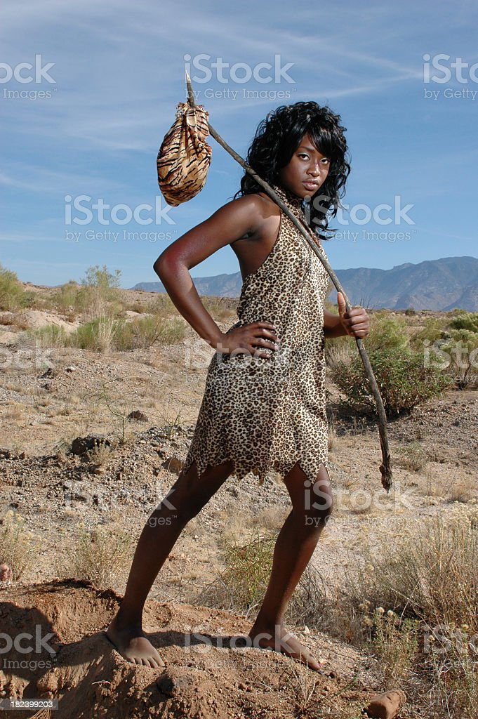 Cave Woman On The Go stock photo