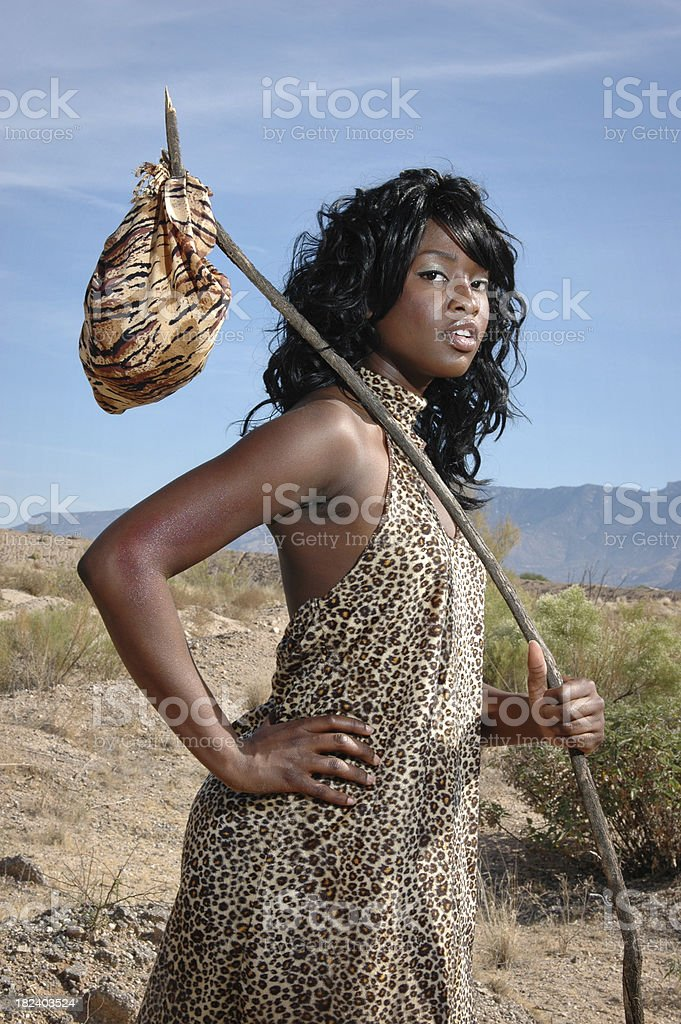 Cave Woman Striking A Pose stock photo