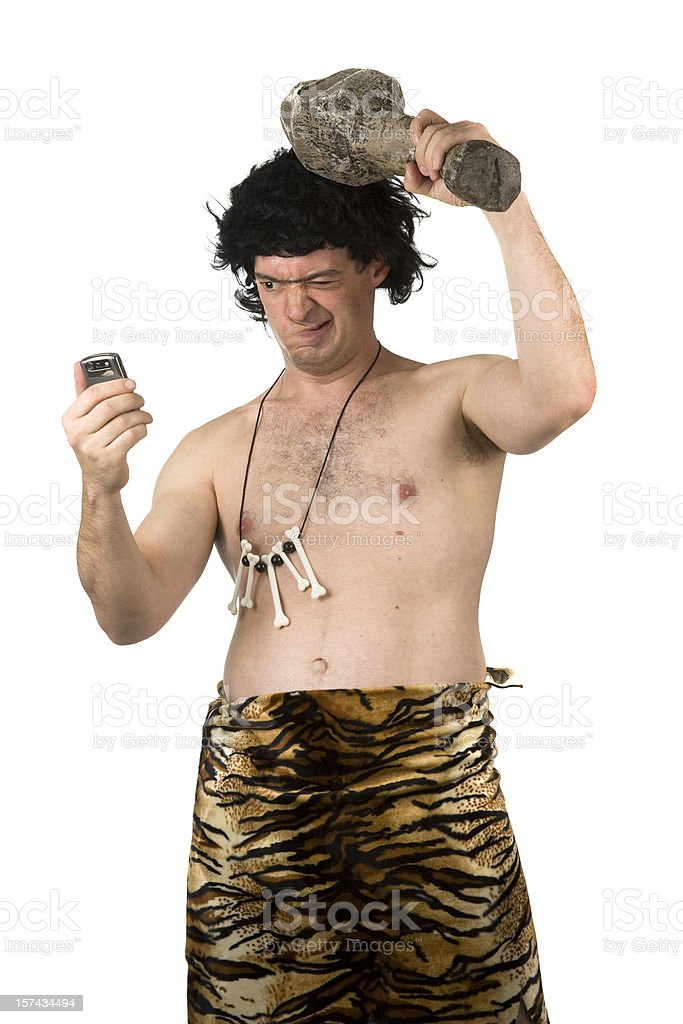 Caveman Confused stock photo