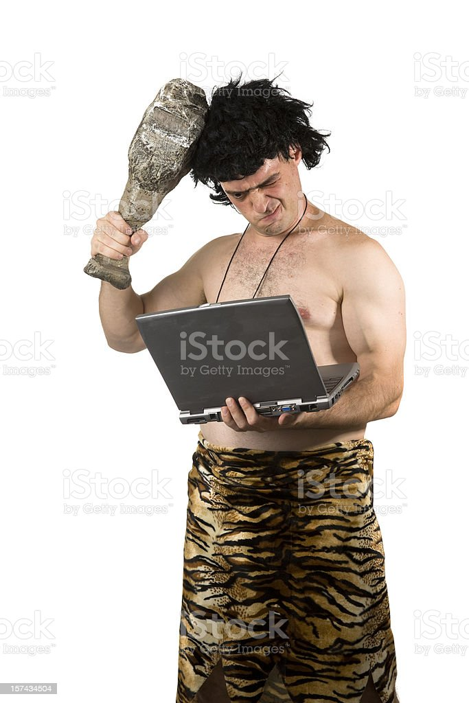 Caveman Confused royalty-free stock photo