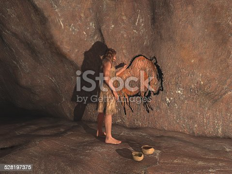 841481956 istock photo Caveman painting in a cave 528197375