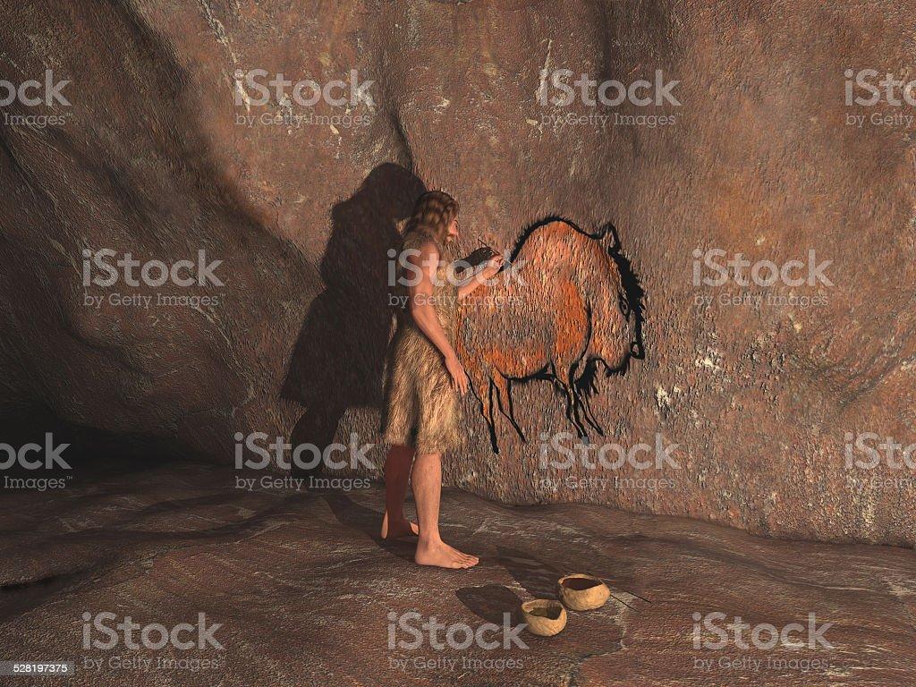 Höhlenmann Malerarbeiten in einer Höhle – Foto