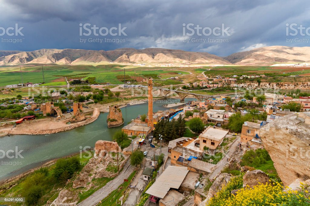 Caves and ruins in the ancient town of Hasankeyf located on the River Tigris in Turkey. stock photo