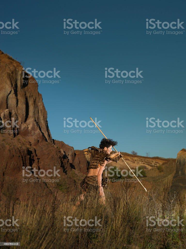 cavewman hunting stock photo