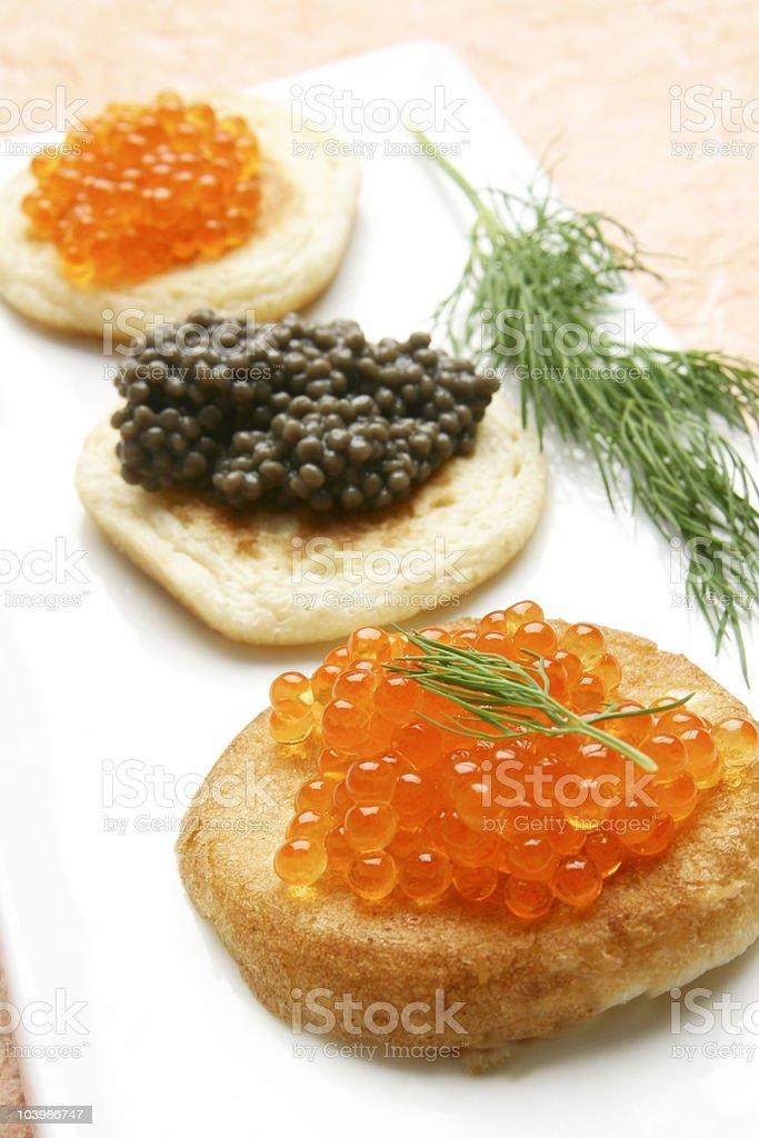 caviar and blinis stock photo