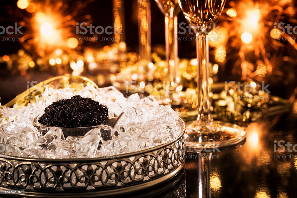 Caviar and Champagne stock photo