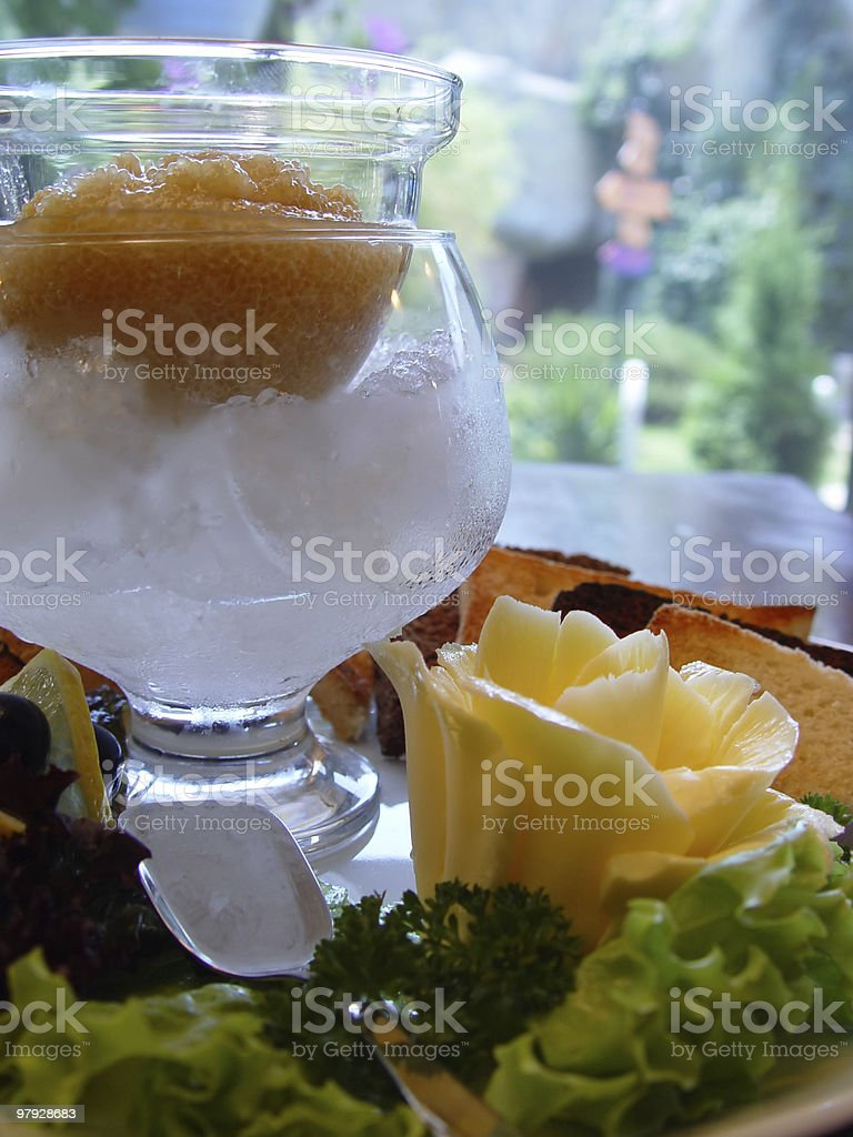 Caviar and oil royalty-free stock photo