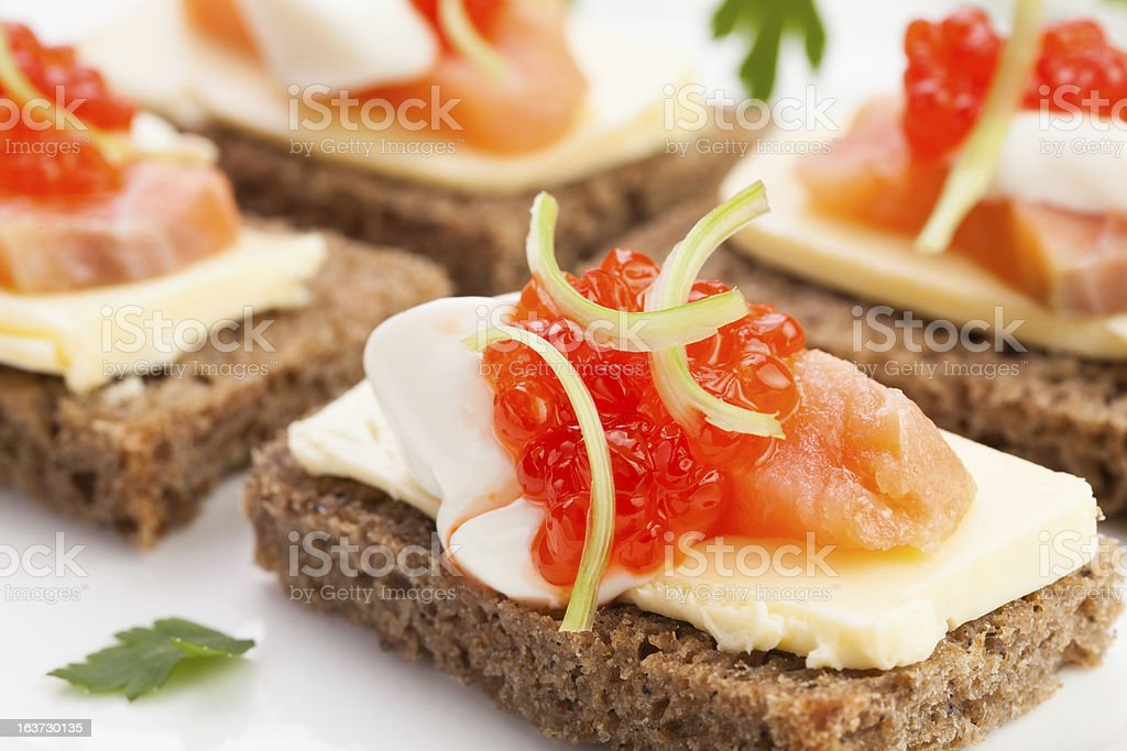 caviar salmon sandwiches royalty-free stock photo