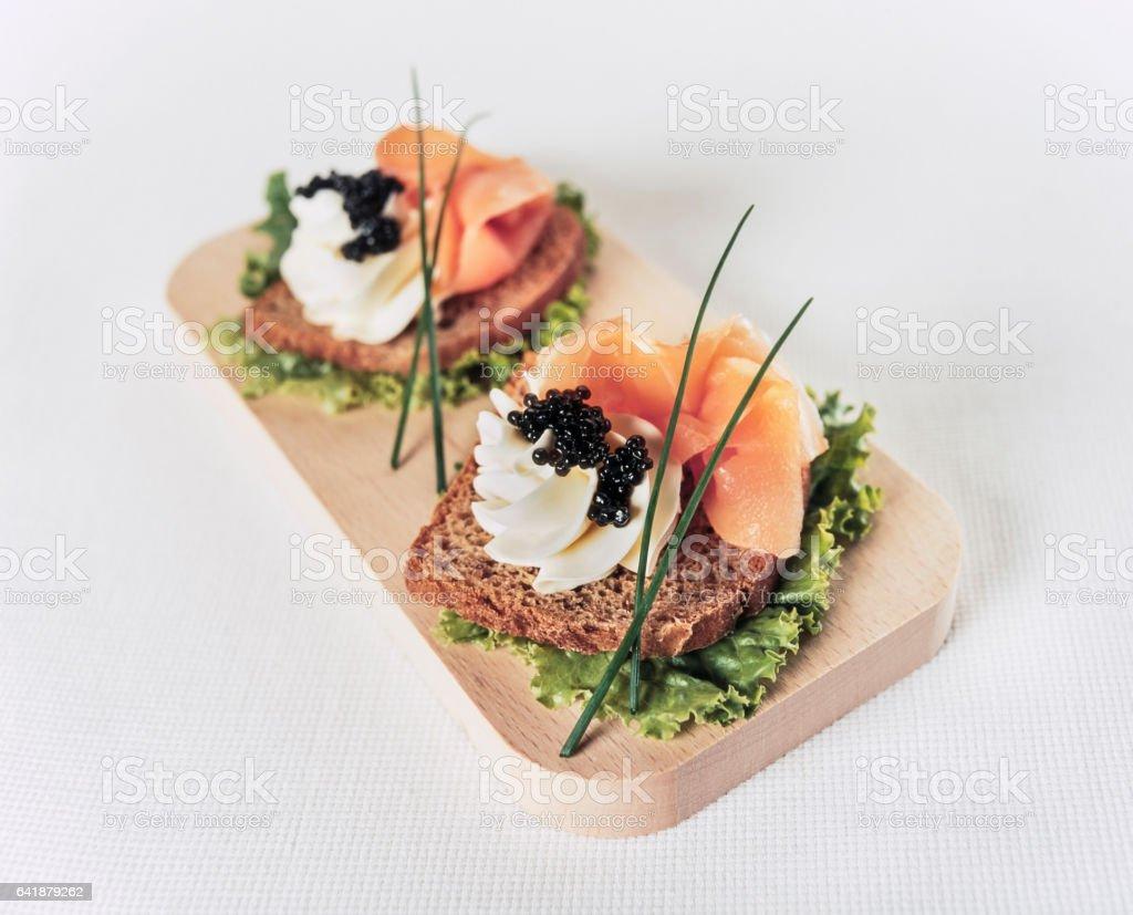 Caviar starters stock photo