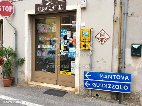 Cavriana, Italy: A tabaccheria (tobacconist) shop in downtown Cavriana, a village in Mantua (Mantova) Province, Lombardy.
