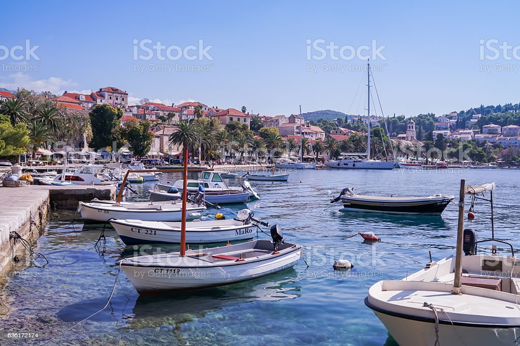 Cavtat port stock photo