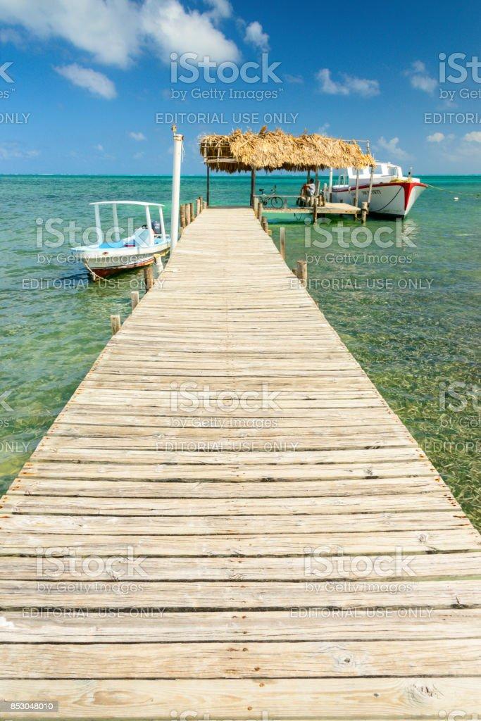 Caye Caulker dock stock photo