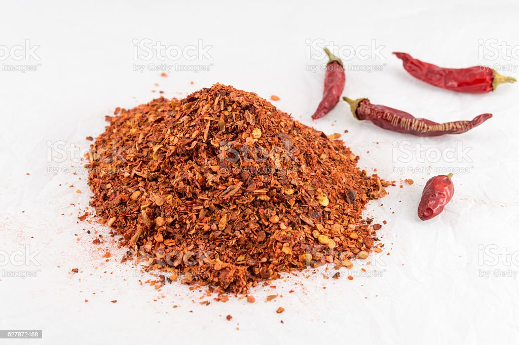 Cayenne pepper and dried peppers stock photo