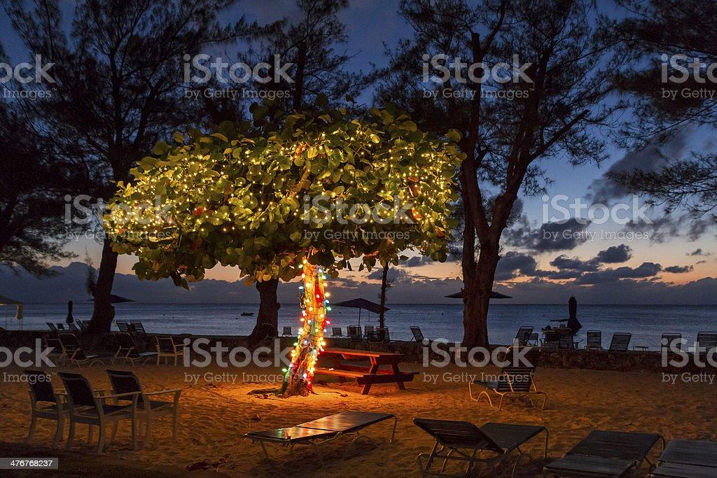 Cayman Beach at Dusk stock photo