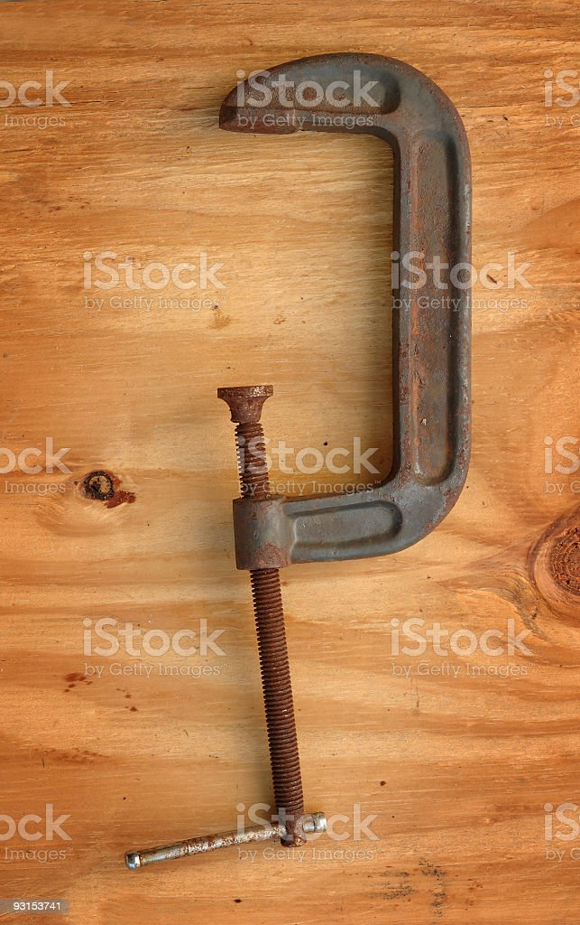 c-clamp rusty stock photo