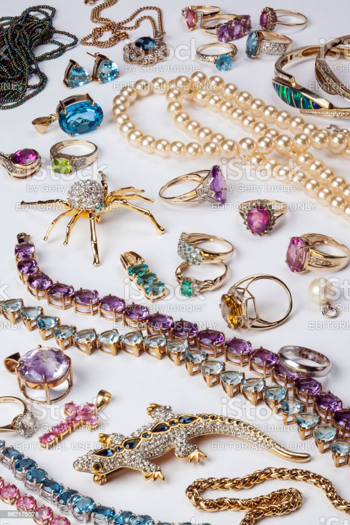 Ccollection of rings and other jewelry stock photo