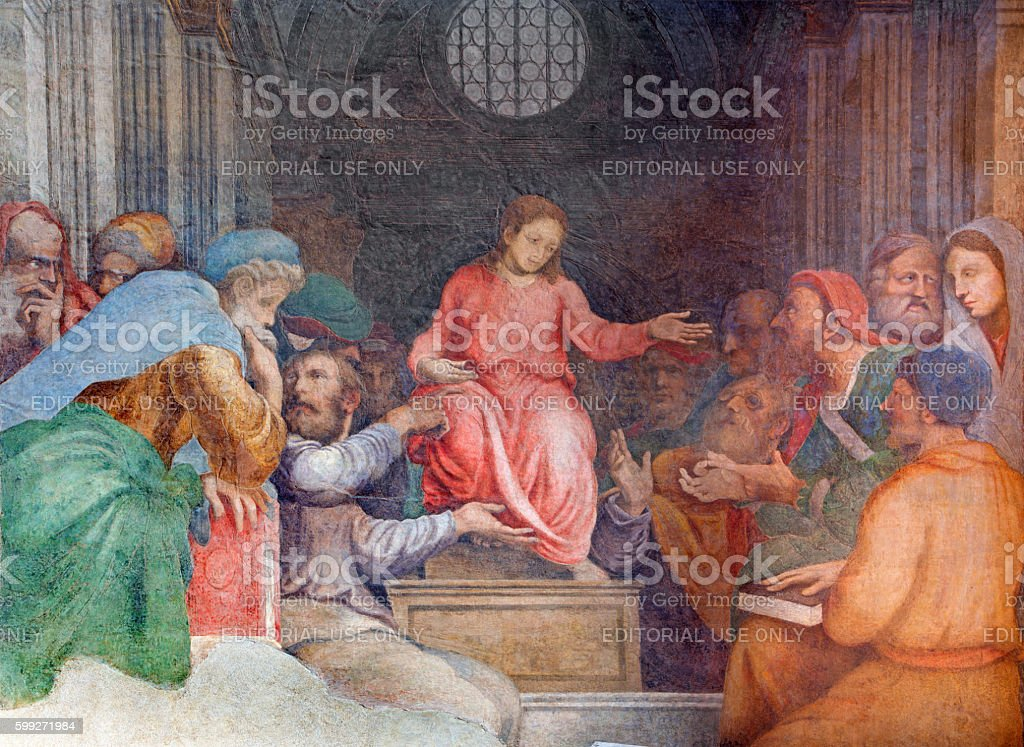 CCremona - The fresco Twelve old Jesus in the Temple stock photo