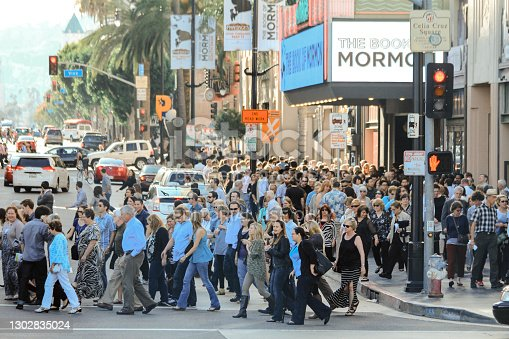 Hollywood, Los Angeles - USA ,16 March 2014: A crowded group of pedestrians crossing the green light on Vine street is one of the busiest streets in America.