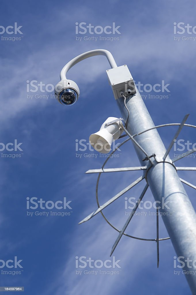 cctv and loudspeaker royalty-free stock photo