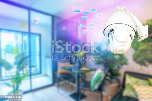 istock cctv camera 360 degree  on the wall technology, home wifi system icon 1183004440