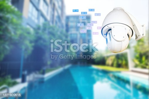 istock cctv camera 360 degree  on the wall technology, home wifi system icon 1221920515